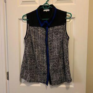 Calvin Klein Sleeveless Printed Button Down Blouse